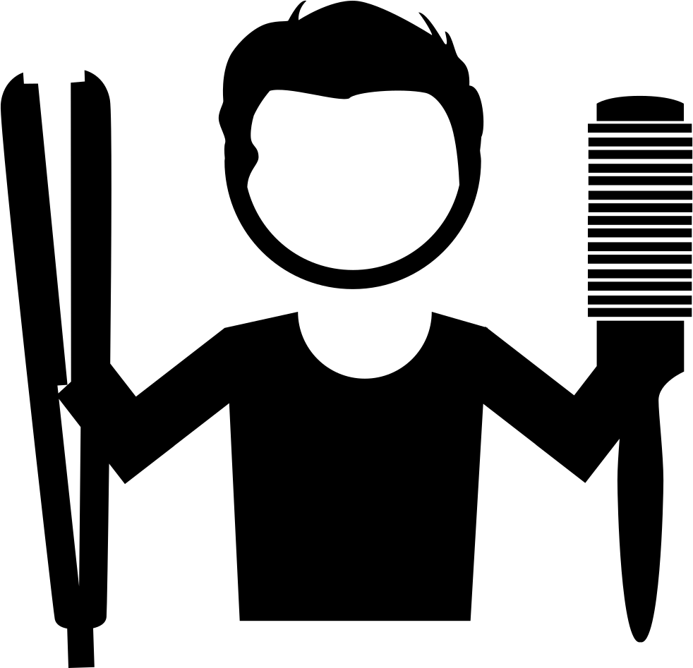 Hairdresser With Tools For Hair In His Hands