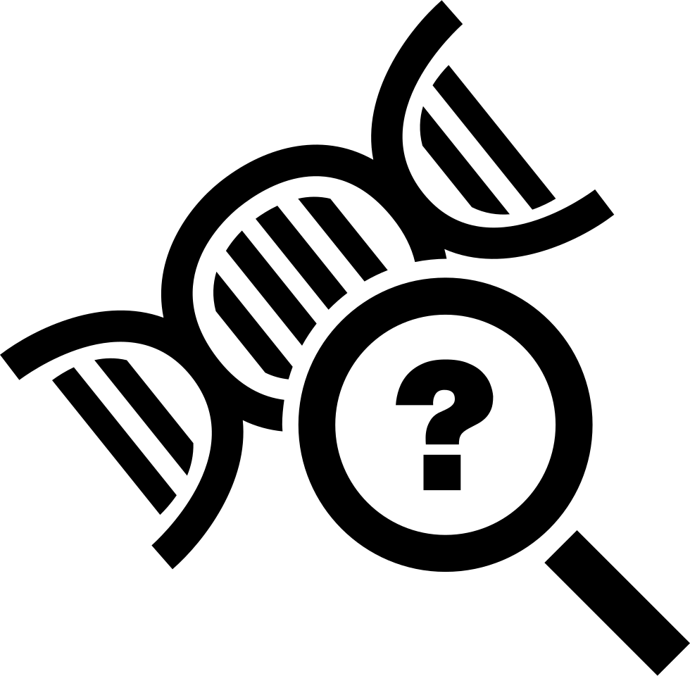 Science Symbol Of DNA With A Magnifier Tool With A Question Sign