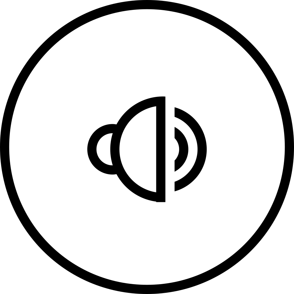 Speaker Outline Symbol In Circular Button