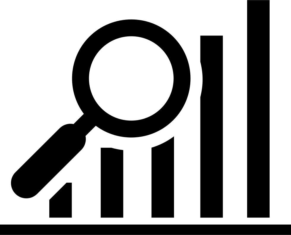 Data Search Interface Symbol Of A Bars Graphic With A Magnifier Tool
