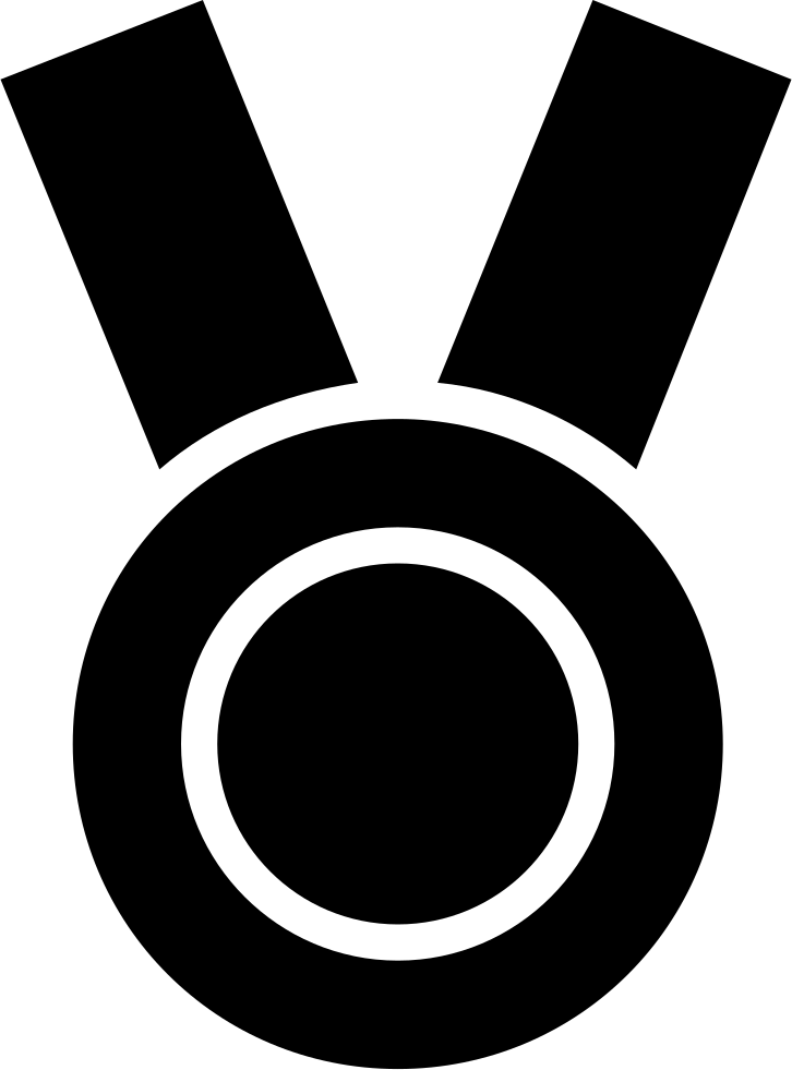 Medal Black Circular Sportive Object Symbol With Ribbon Necklace