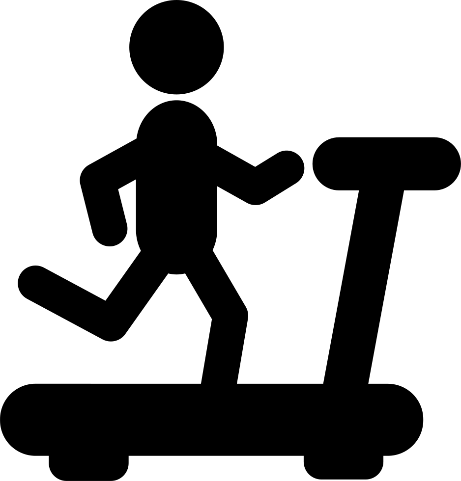 Person Running On A Treadmill Silhouette From Side View