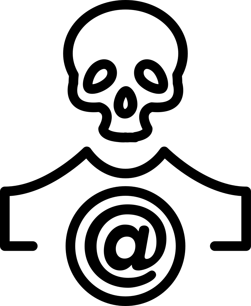 Skull Outline With Arroba Sign In A Circle