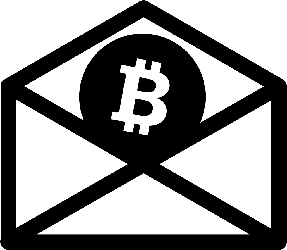 Bitcoin Inside A Mail Envelope Outline