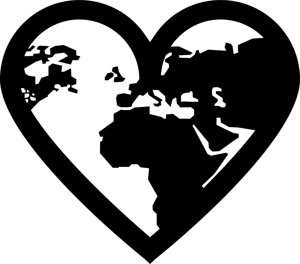 Earth Continents Shapes In A Heart Outline Shape