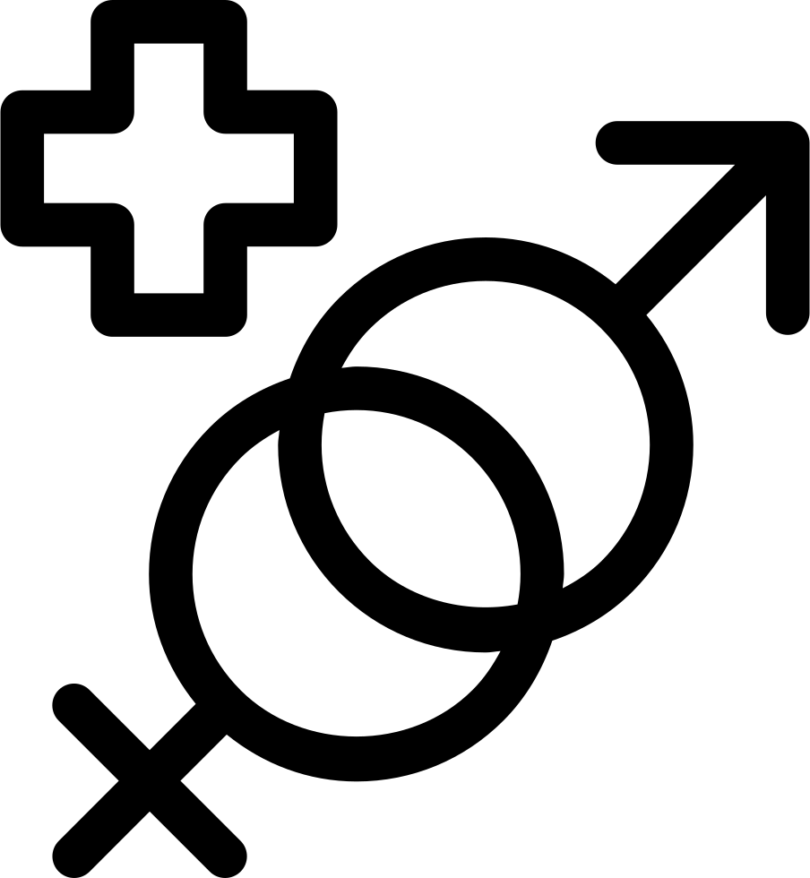 Masculine And Feminine Genders Symbols With A Plus Sign