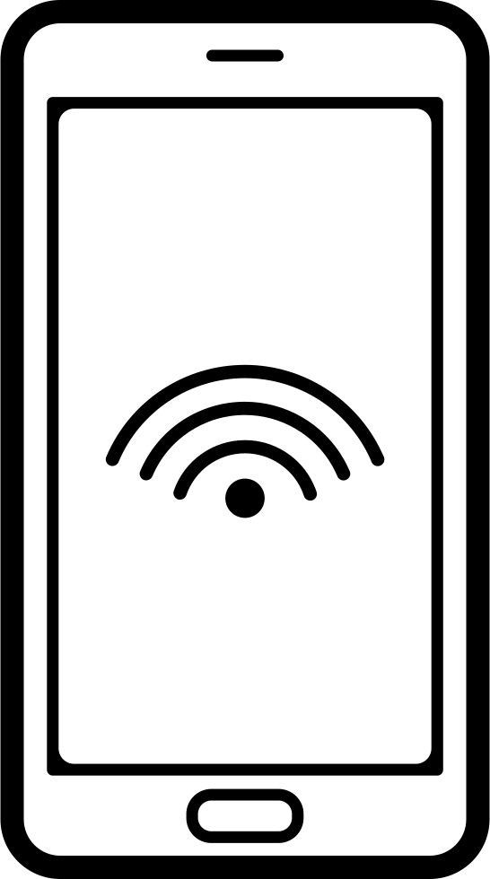 Mobile Phone Outline With Wifi Connection Sign On Screen