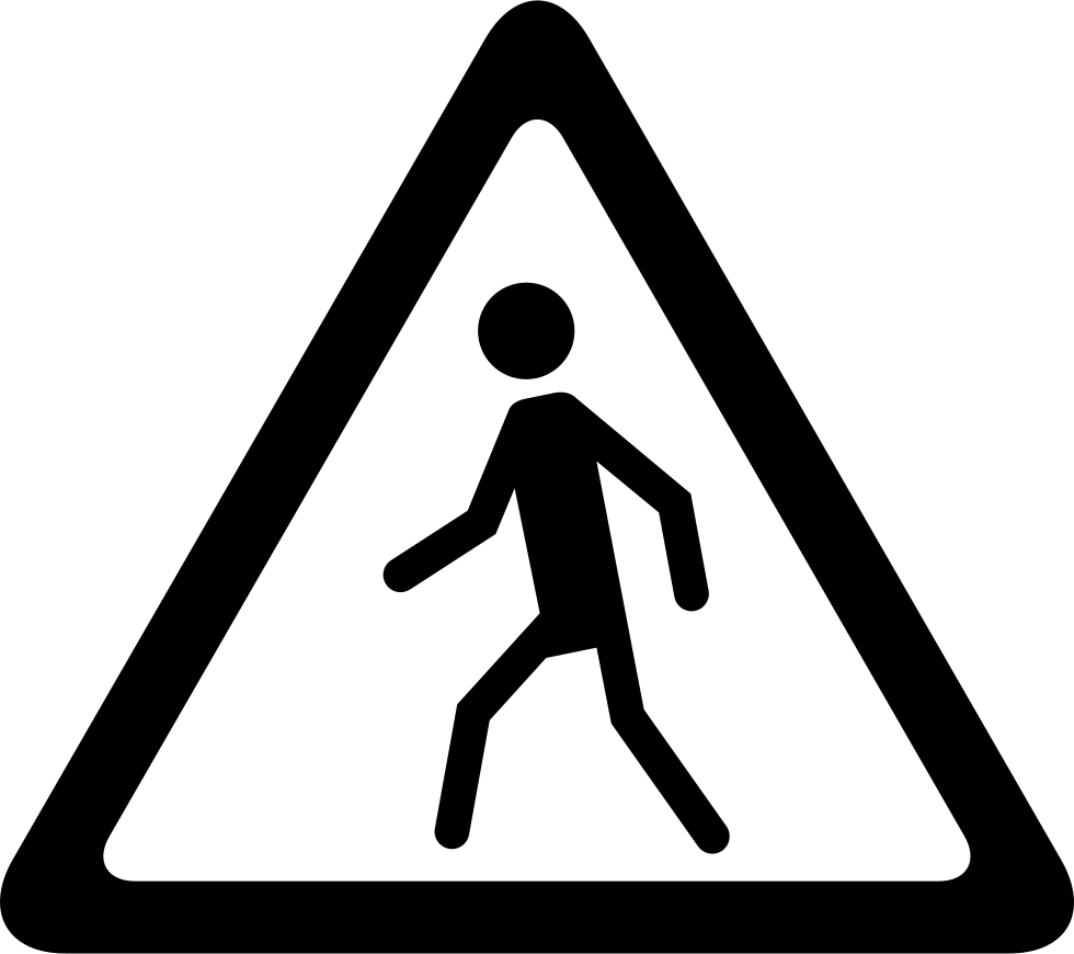Street Traffic Triangular Signal With A Walker