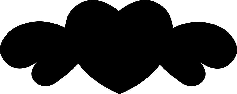 Heart Black Shape With Wings
