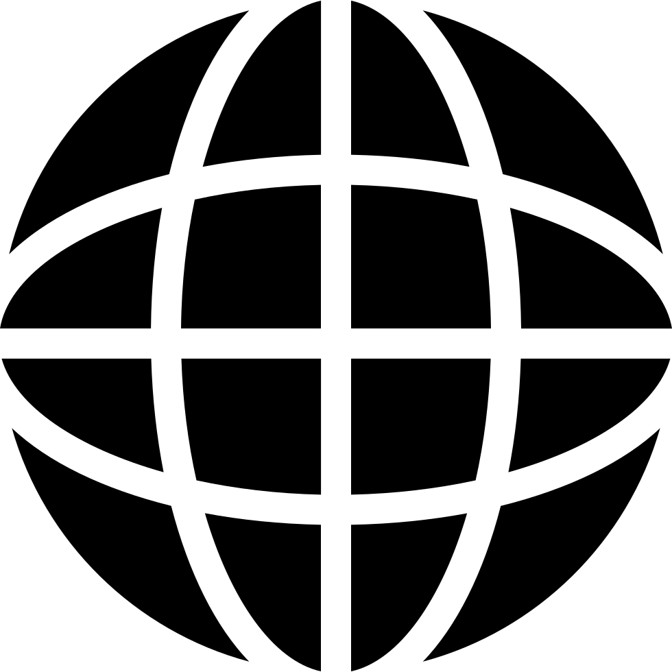 Earth Black Symbol With Thin Grid