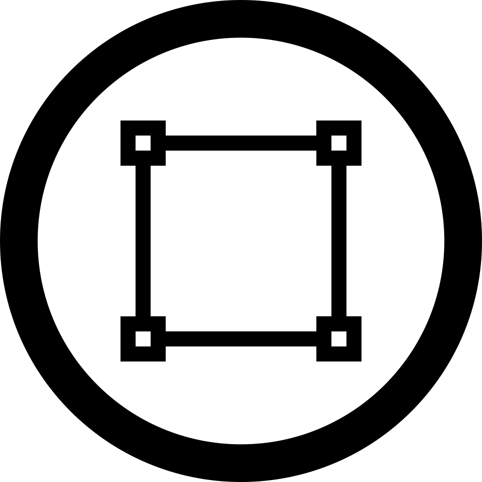 Square Shape With Dots On Corners In Circular Button