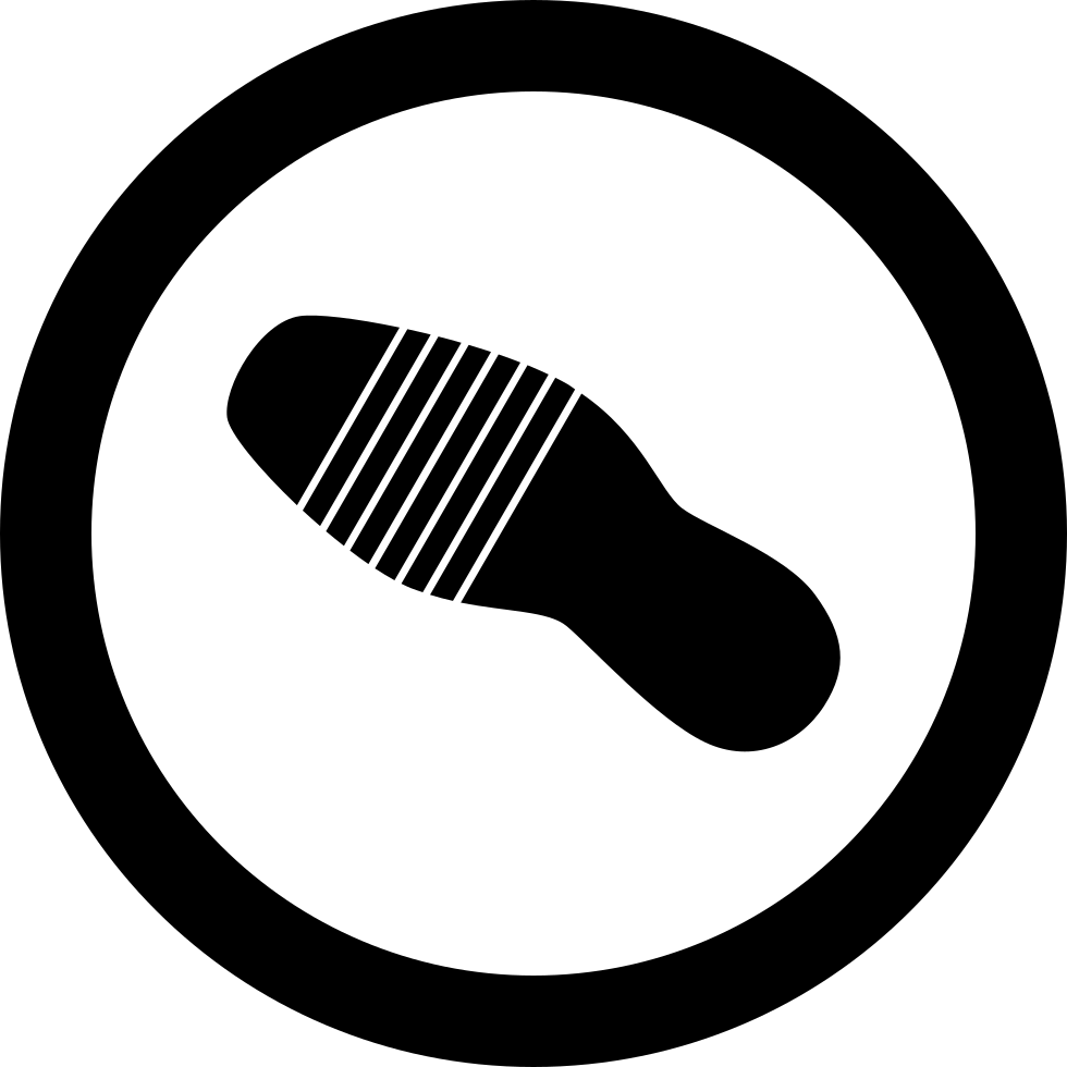 Shoe Single Footprint In A Circle Outline