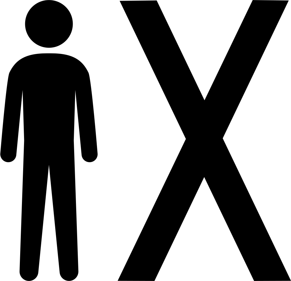 Man Standing Beside An X Symbol