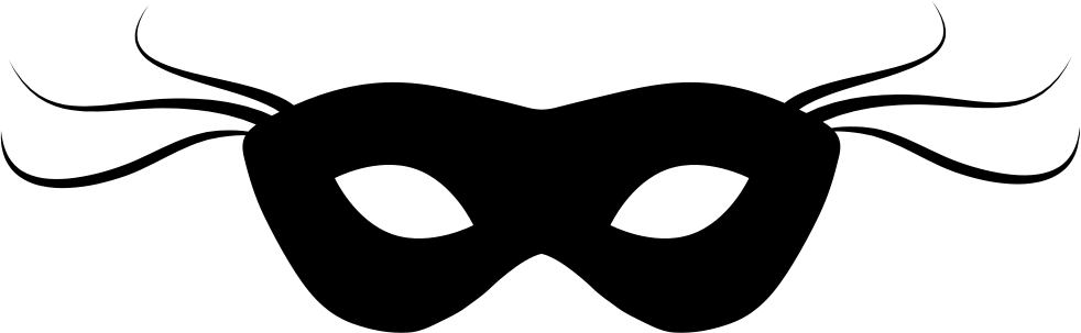 Carnival Mask Black Small Shape With Thin Lines At Both Sides