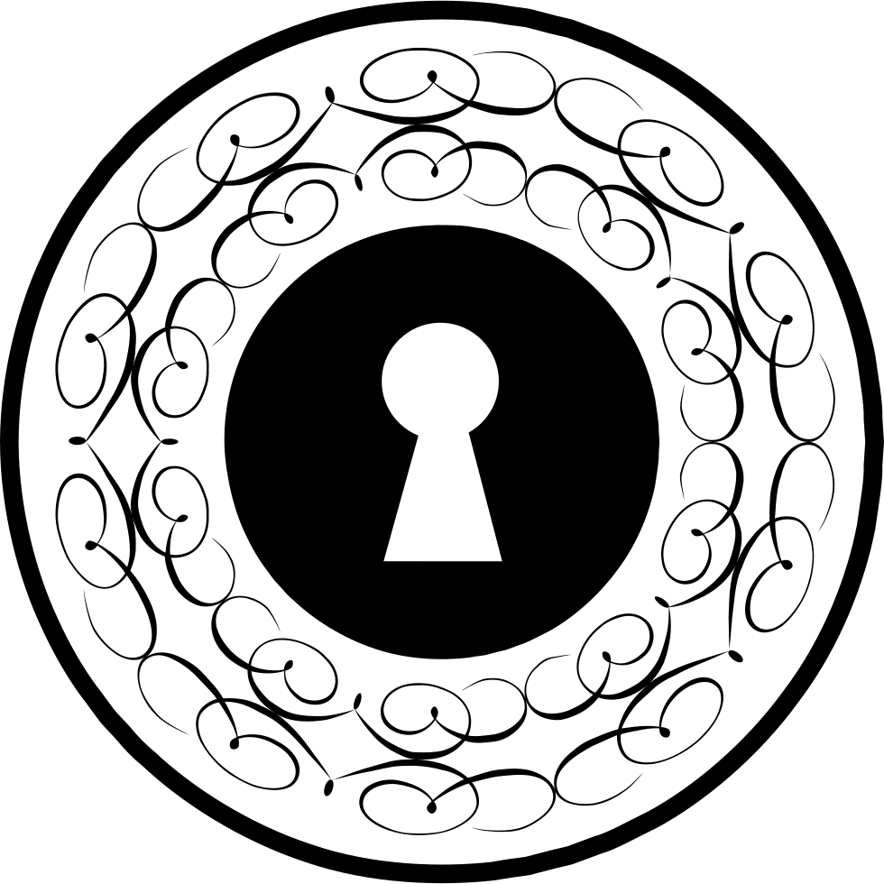 Keyhole Circle With Thin Ornamental Lines