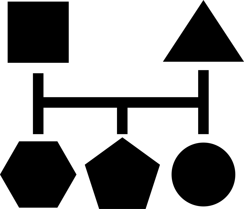 Blocks Scheme Of Five Geometric Basic Black Shapes