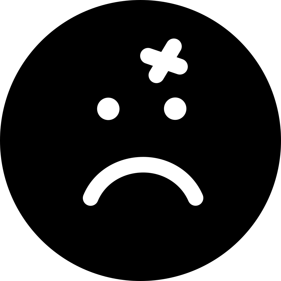 Wound Cross On Emoticon Sad Face Of Rounded Square Shape
