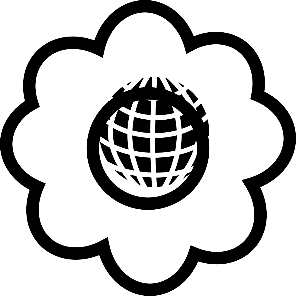 Earth Shape In A Flower Outline