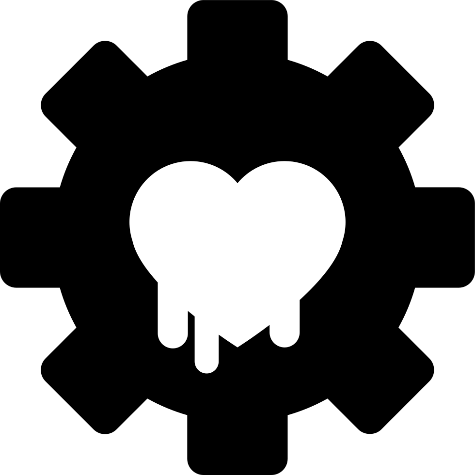 Gear With Heart Symbol Of Security System Configuration