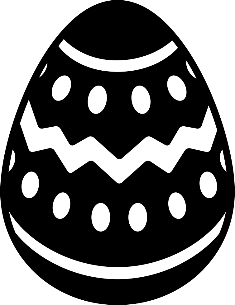 Easter Egg With Lines And Dots Decoration