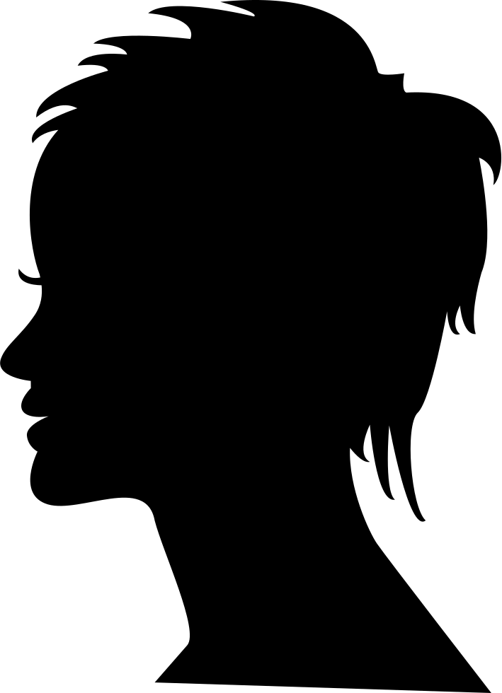 Short Female Hair On Side View Woman Head Silhouette