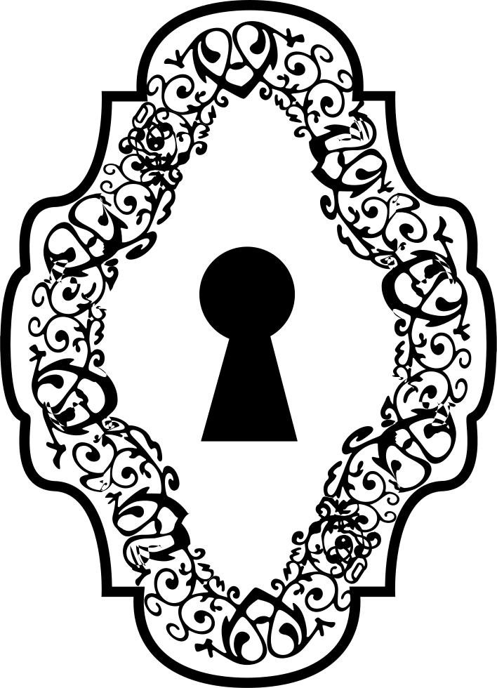 Keyhole In An Ornamented Vertical Symmetrical Shape