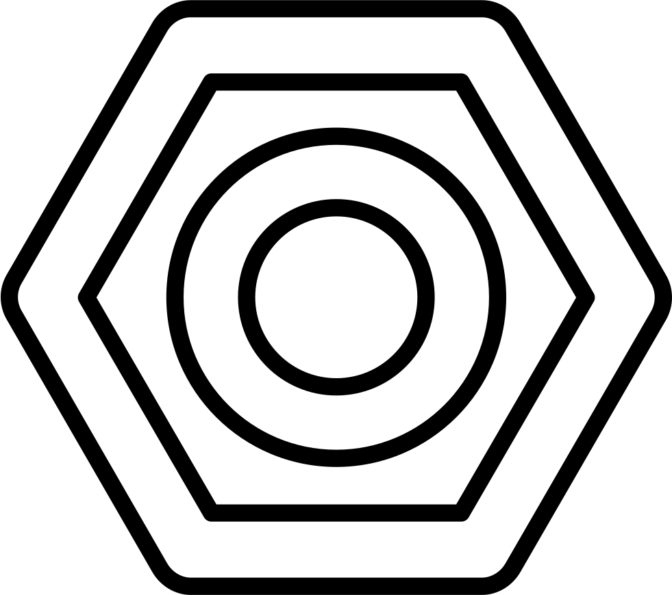 Hexagon And Circle Outlined Shapes