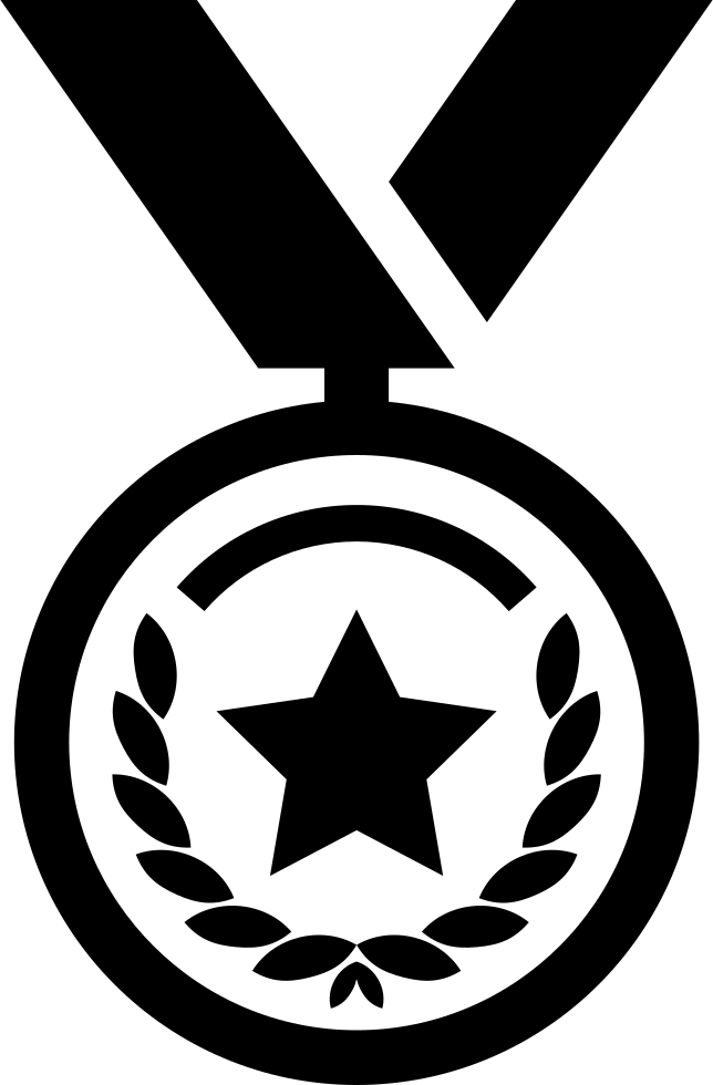 Medal Of Circular Shape With A Star Hanging Of A Ribbon
