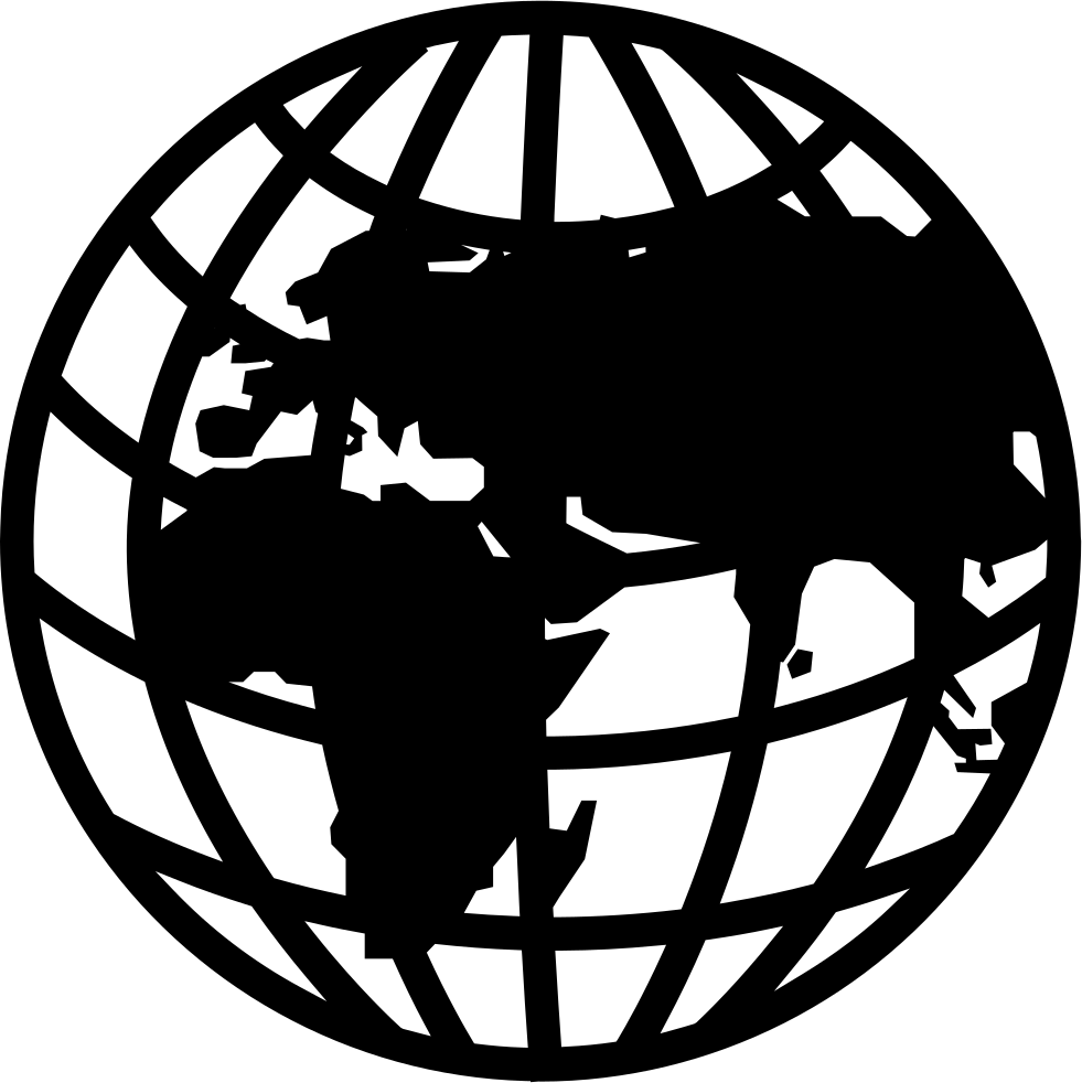 Earth Globe With Grid And Continents Shapes