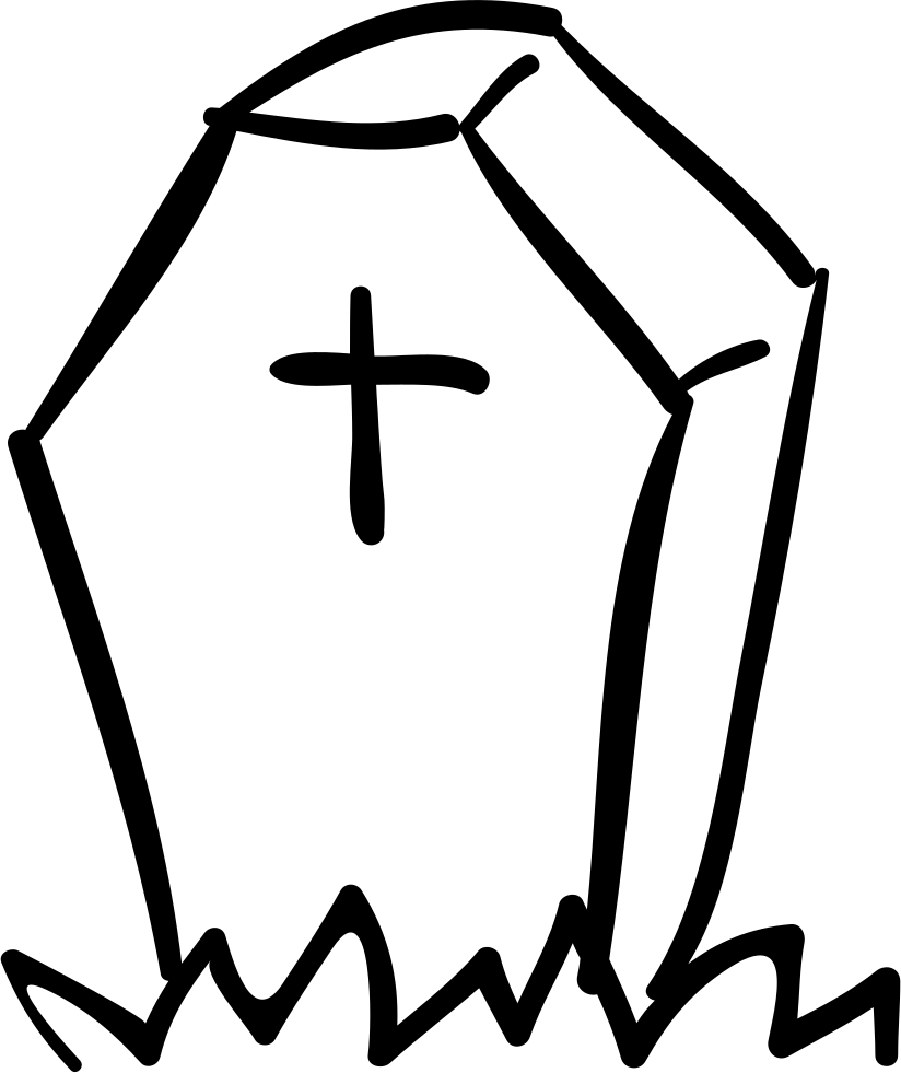 Halloween Tombstone Of Coffin Shape With A Cross