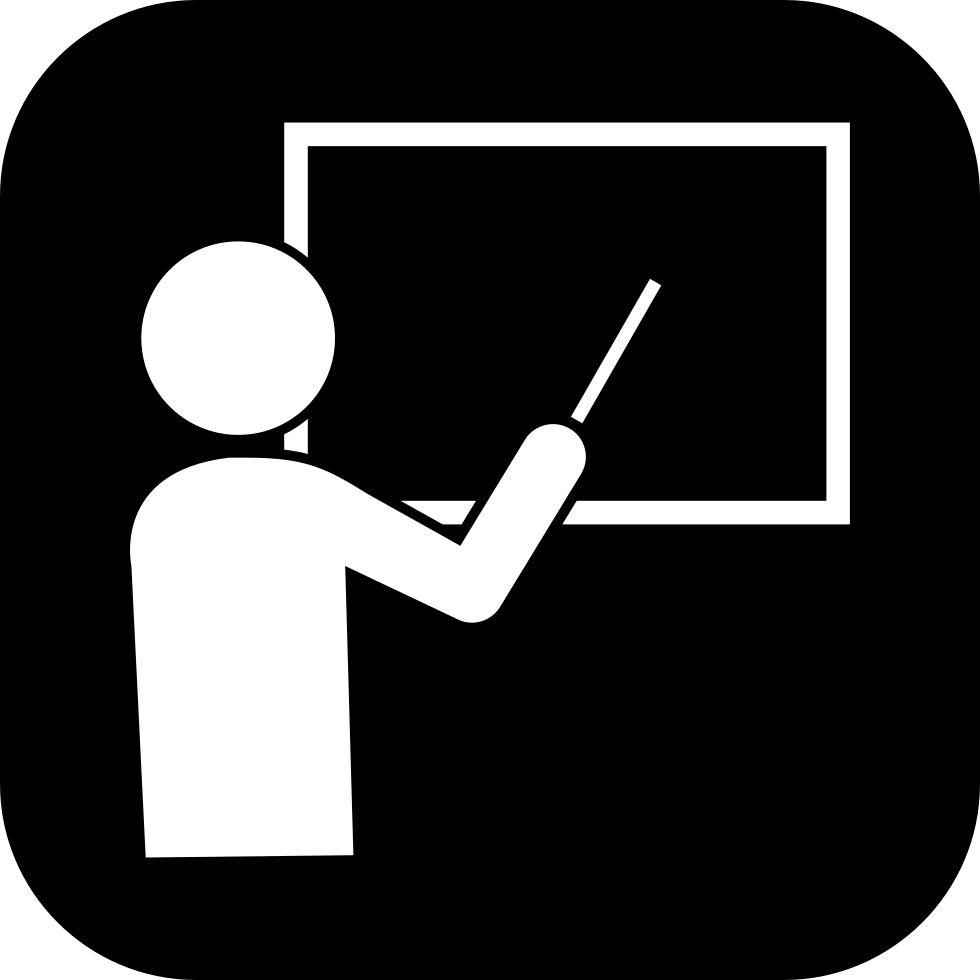 Professor Teaching On A Blackboard In White Shapes Inside A Black Rounded Square