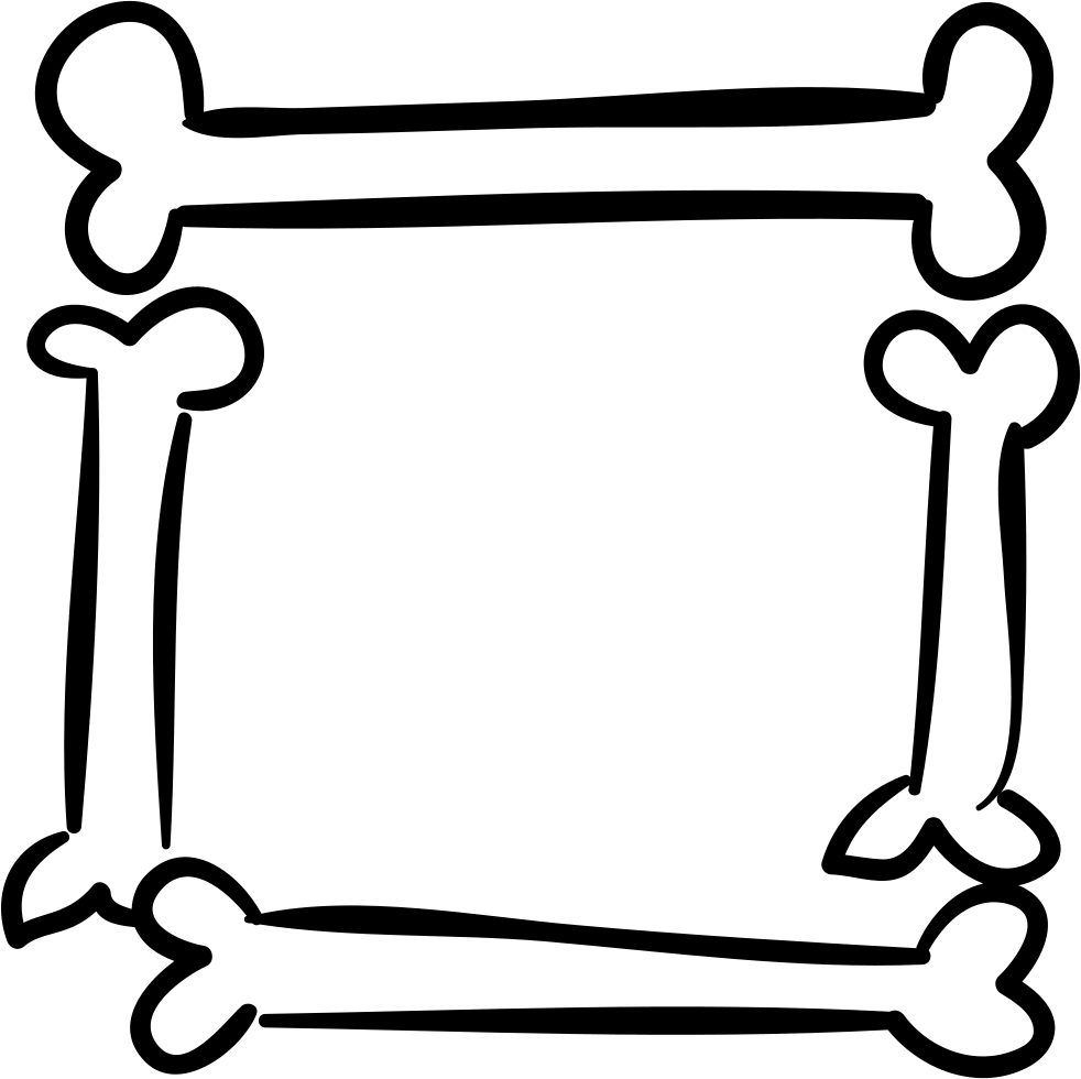 Halloween Square Frame Of Bones Outlines