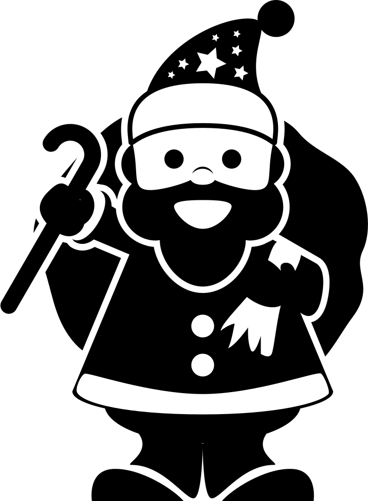Christmas Santa Claus Character Holding Gifts Bag At His Back With One Hand And A Cane In The Other