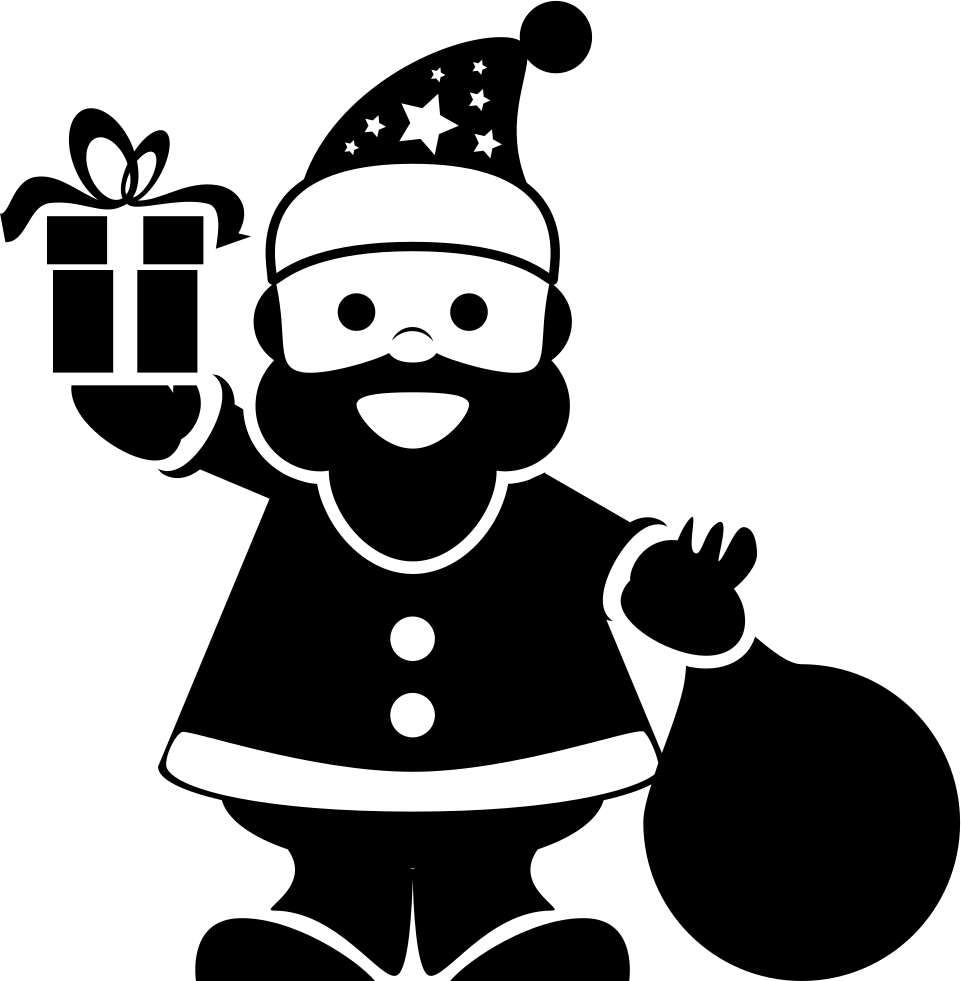 Santa Claus Standing With Gifts Bag In One Hand And A Bell In The Other