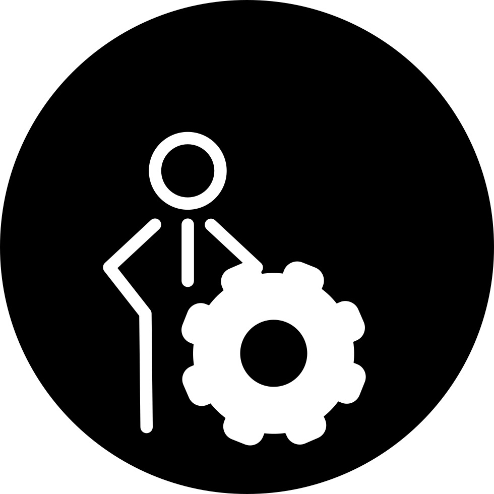 Person Outline With Cogwheel Symbol