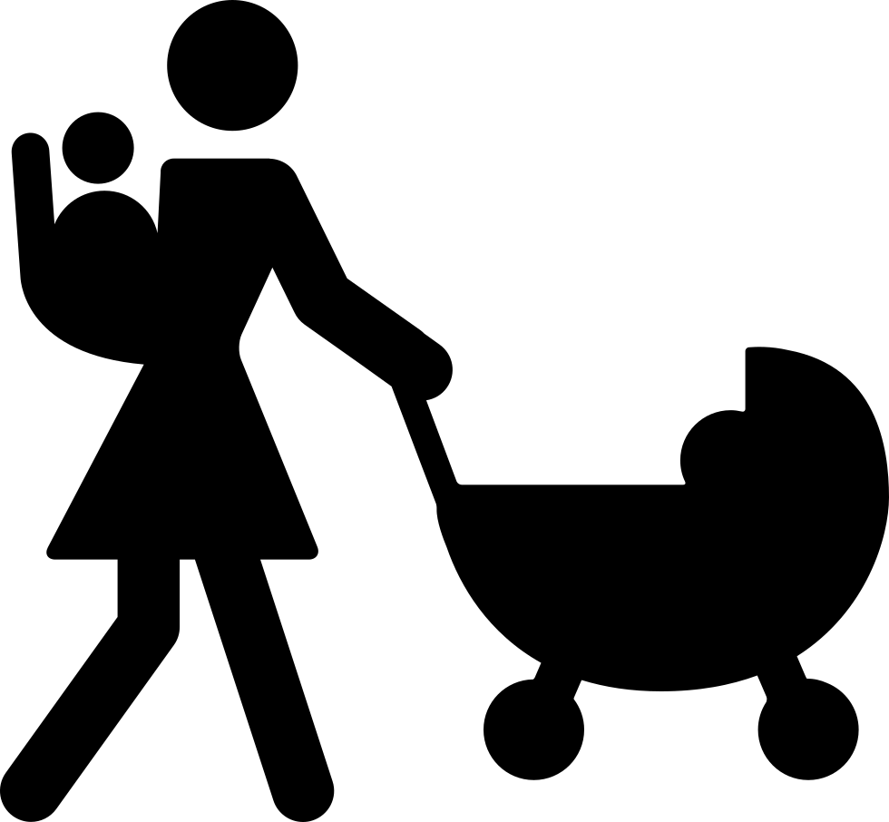 Mother Walking With Baby On Her Back And Other On Stroller