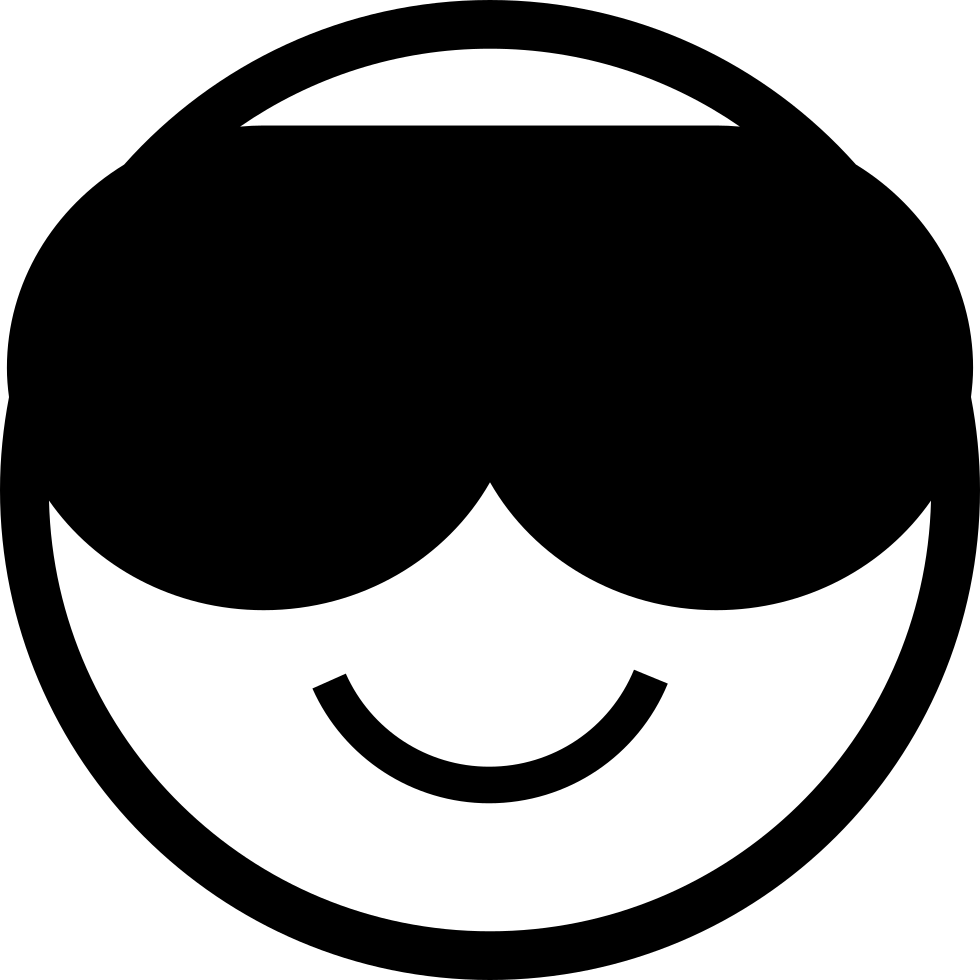 Emoticon Cool Face Smiling With Dark Sunglasses