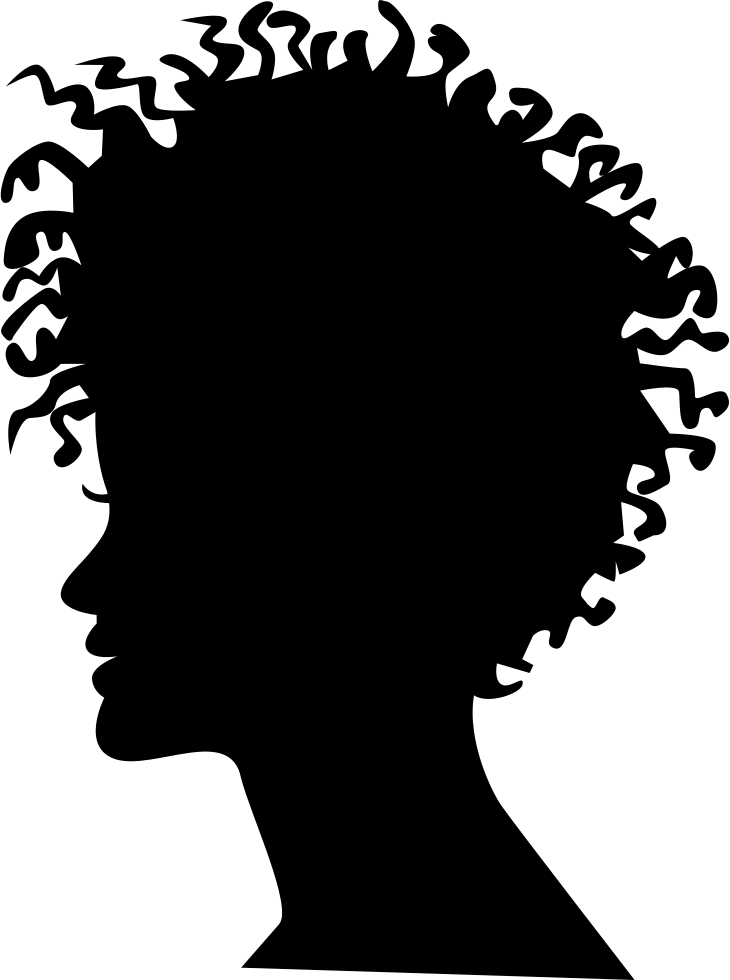 Woman Head Silhouette With Short Curled Hair Style