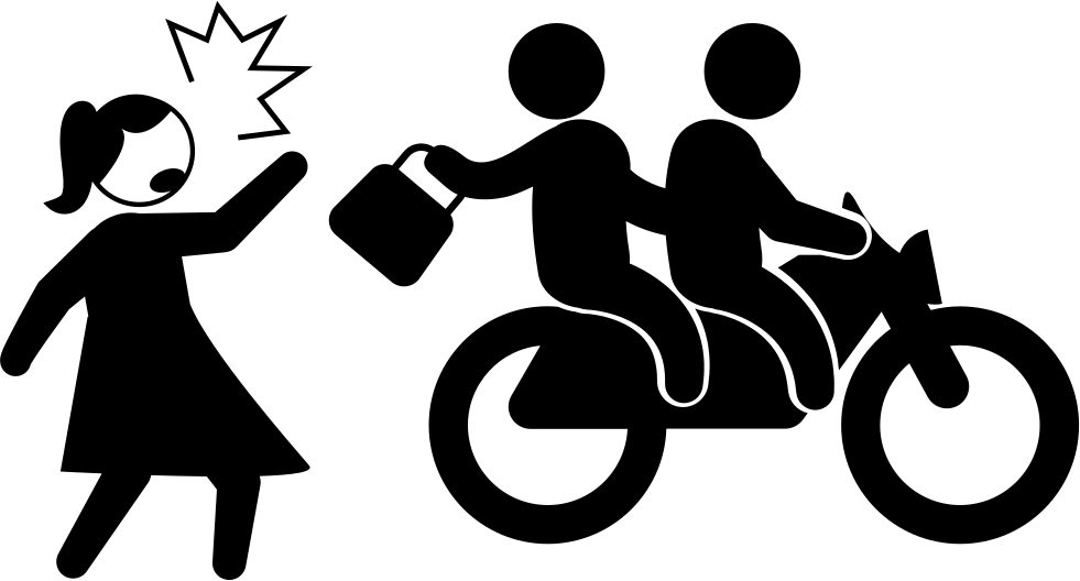 Motorcyclists Criminals Stealing Woman Bag