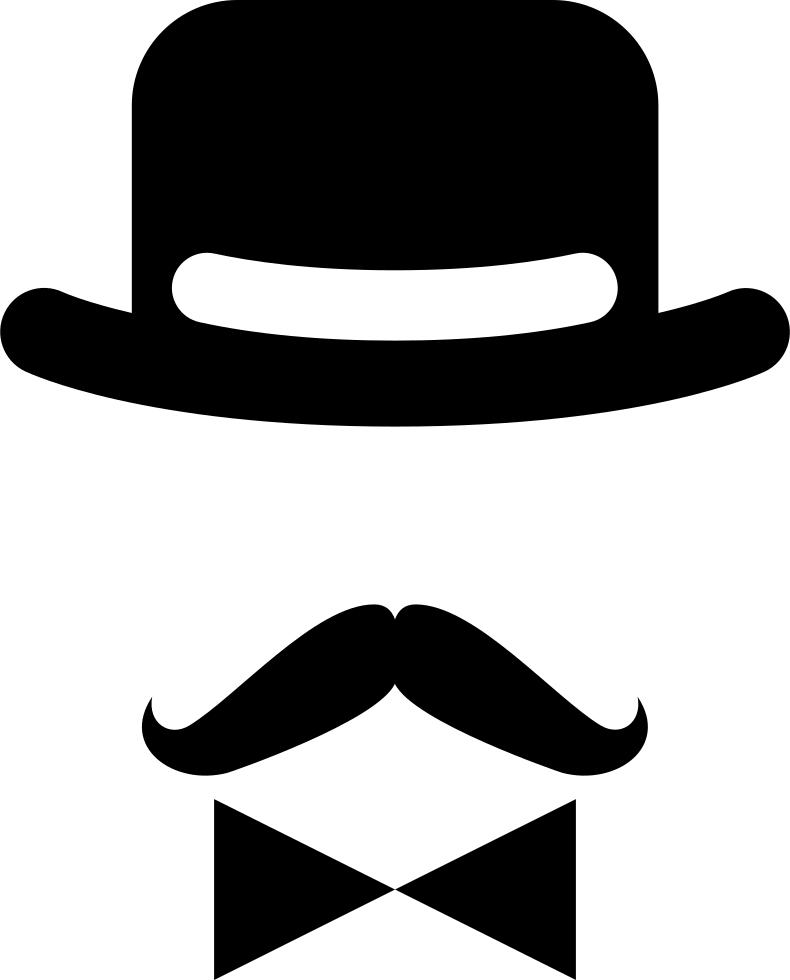 Antique Male Character Of A Hat A Bow And A Mustache