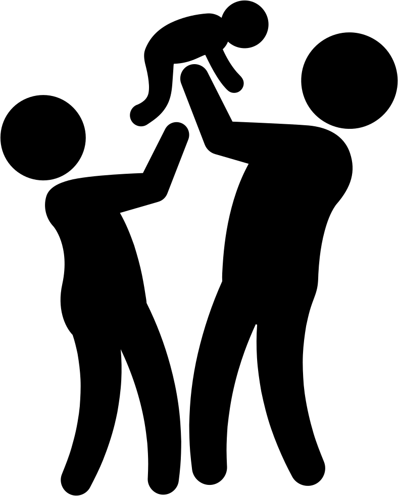 Couple With Baby Silhouettes Of A Family Group