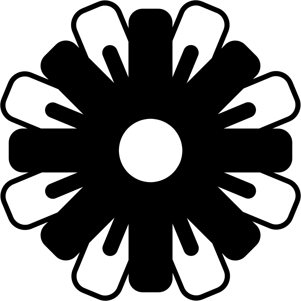 Flower With Black And White Petals Variant