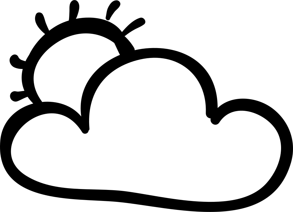 Cloud And Sun Hand Drawn Outlines