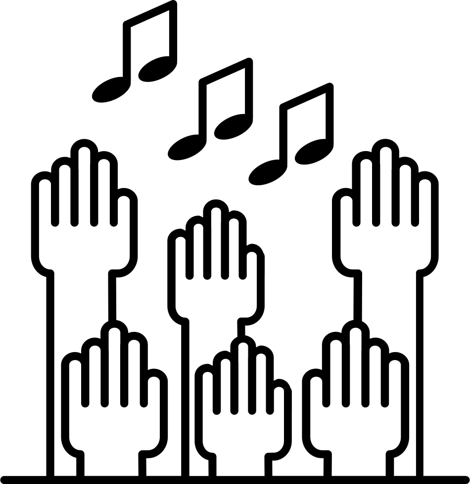 Multiple Raising Hands With Musical Notes