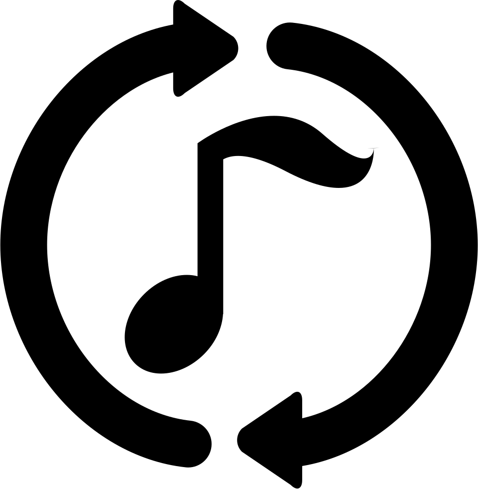 Music Note With Loop Circular Arrows Around