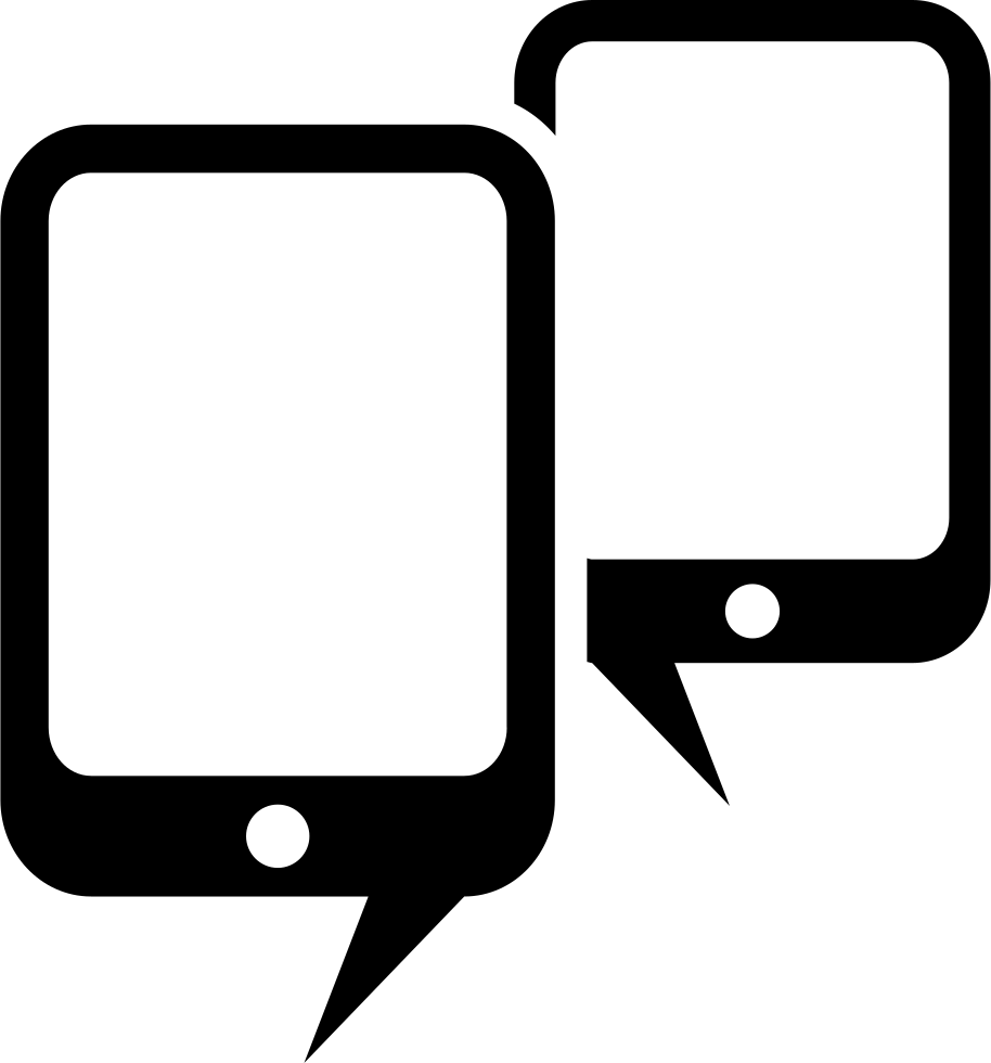 Mobileforum Symbol Of Two Cellphones Like Speech Bubbles