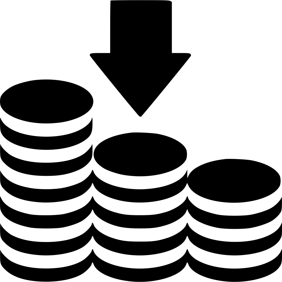 Arrow Down Coins Stack