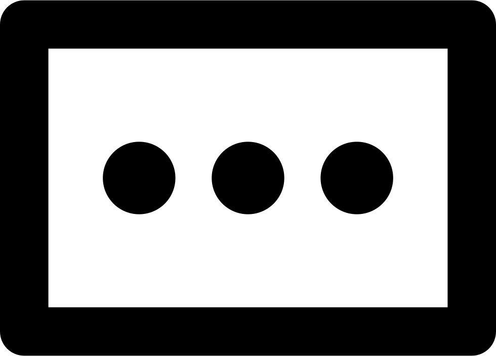Three Dots In A Rectangle Outline