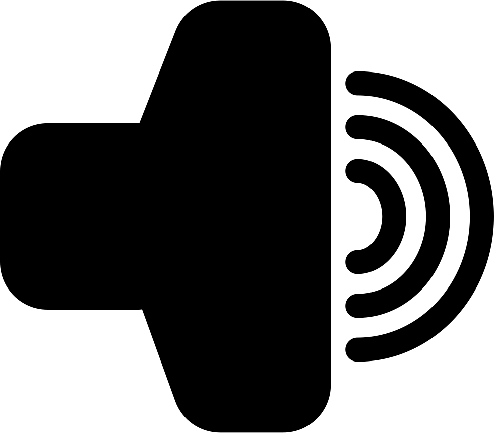 Maximal Volume Audio Interface Symbol Of A Speaker Side View With Lines Representing Sound