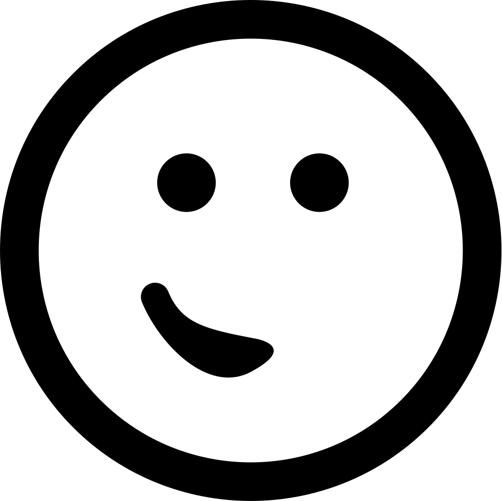 Emoticon Face With The Mouth At One Side Like A Small Smile In A Rounded Square